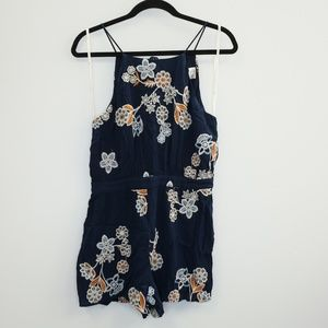 J.O.A. Floral Embroidered Romper Navy Blue M